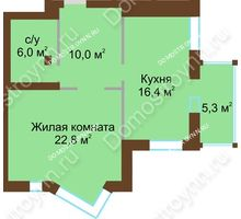 1 комнатная квартира 57,8 м², Жилой дом: ул. Почаинская д. 33 - планировка