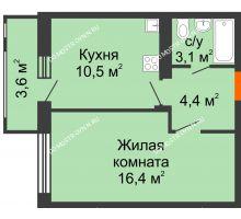 1 комнатная квартира 36,2 м² в ЖК Новая Кузнечиха, дом № 29 - планировка