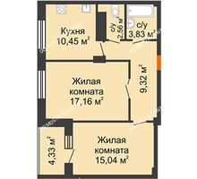 2 комнатная квартира 60,43 м² в ЖК Облака, дом № 2 - планировка
