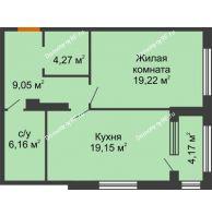1 комнатная квартира 59,94 м², ЖК Гран-При - планировка