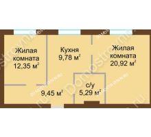 2 комнатная квартира 57,79 м² в ЖК Каменки, дом №14