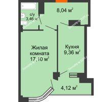 1 комнатная квартира 42,08 м² в ЖК Северный Остров, дом № 6 - планировка