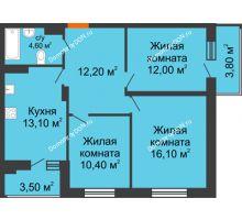 3 комнатная квартира 68,3 м² в ЖК Вересаево, дом Литер 5/1 - планировка