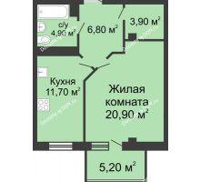 1 комнатная квартира 49,8 м², ЖК Нахичевань - планировка