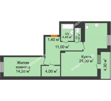 1 комнатная квартира 67,75 м², ЖК Корица - планировка