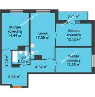 3 комнатная квартира 79,14 м² в ЖК Рассвет, дом № 10 - планировка