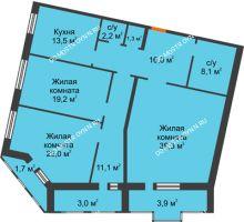 3 комнатная квартира 140,2 м², Жилой дом: ул. Варварская - планировка