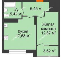 1 комнатная квартира 43,98 м² в ЖК Маленькая страна, дом № 4 - планировка