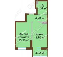 1 комнатная квартира 38,56 м² в ЖК Красная поляна, дом № 8