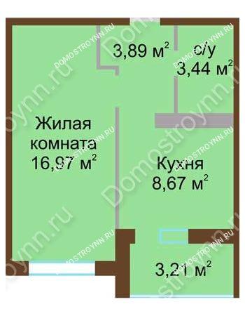 1 комнатная квартира 34,58 м² в ЖК Мой дом на Коломенской, дом № 1