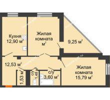 2 комнатная квартира 68,7 м² в ЖК Чернавский, дом 2 этап