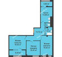 3 комнатная квартира 98,65 м² в ЖК Малахит, дом № 1 - планировка