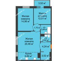 3 комнатная квартира 73,68 м² в ЖК На Хмельницкого, дом № 3 - планировка
