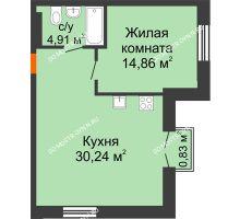 1 комнатная квартира 50,26 м², ЖК Шаляпин - планировка