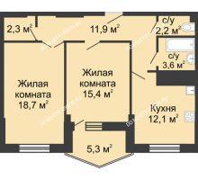 2 комнатная квартира 71 м² в ЖК Монолит, дом № 89, корп. 3 - планировка