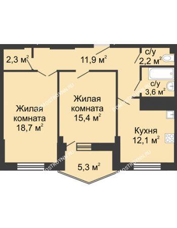 2 комнатная квартира 71 м² в ЖК Монолит, дом № 89, корп. 3