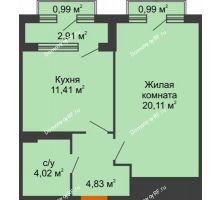 1 комнатная квартира 42,43 м², ЖК Гран-При - планировка