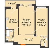 2 комнатная квартира 66,2 м² в ЖК Парк Островского 2, дом № 1 - планировка