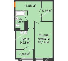 1 комнатная квартира 52,95 м² в ЖК СИТИДОМ, дом 4 очередь,корпус 3 - планировка