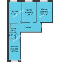 3 комнатная квартира 92,8 м², ЖК Две реки - планировка