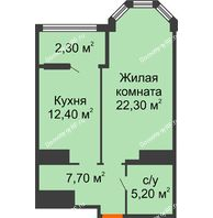 1 комнатная квартира 49,7 м² в ЖК Пять звёзд, дом Секция 4/2 - планировка
