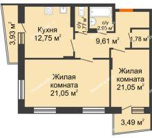 2 комнатная квартира 65,34 м², Жилой дом Кислород - планировка