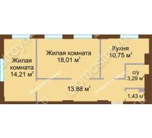 2 комнатная квартира 61,57 м² в ЖК Солнечный, дом № 2