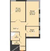 Студия 106,92 м², Жилой дом на ул. Платонова, 9,11 - планировка