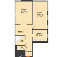 2 комнатная квартира 106,92 м², Жилой дом на ул. Платонова, 9,11 - планировка