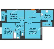 3 комнатная квартира 76,9 м² в ЖК Левенцовка парк, дом Корпус 8-5 - планировка