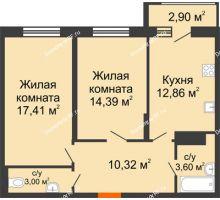 2 комнатная квартира 63,03 м² в Макрорайон Амград, дом №1 - планировка