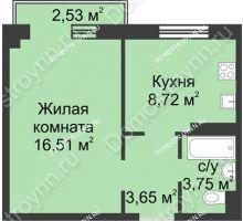 1 комнатная квартира 33,39 м² в ЖК Тридесятое, дом № 23 - планировка