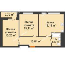 2 комнатная квартира 65,63 м² в ЖК Книги, дом № 1 - планировка