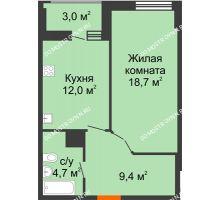 1 комнатная квартира 46,3 м² в ЖК Квартет, дом № 3 - планировка