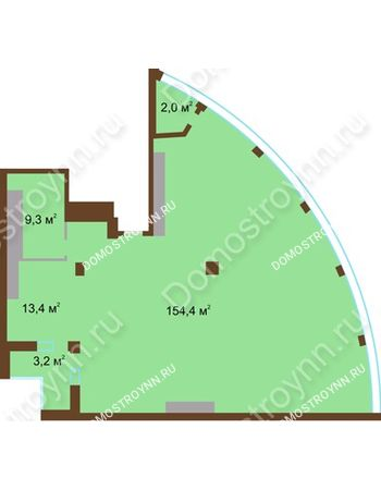 1 комнатная квартира 182,3 м² в ЖК Монолит, дом № 89, корп. 1, 2