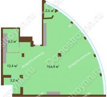 1 комнатная квартира 182,3 м² в ЖК Монолит, дом № 89, корп. 1, 2 - планировка