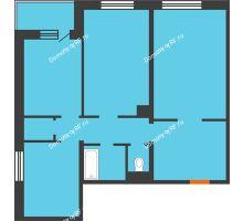 3 комнатная квартира 81,5 м² в ЖК Ромашково, дом Позиция 2 - планировка