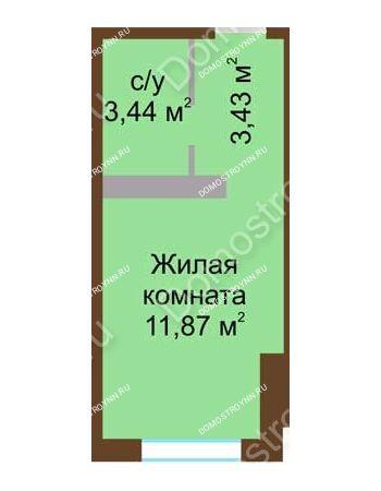 Студия 18,74 м² в ЖК Мой дом на Коломенской, дом № 1