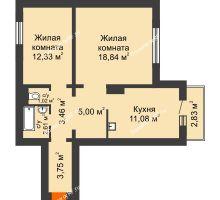 2 комнатная квартира 58,94 м² в Микрорайон Нанжуль-Солнечный, дом № 9 - планировка