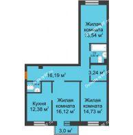 3 комнатная квартира 82,97 м² в ЖК Новоостровский, дом № 2 корпус 1 - планировка