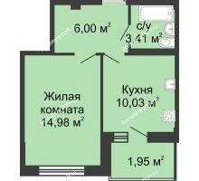 1 комнатная квартира 36,6 м² в ЖК Соловьиная роща, дом № 2 - планировка