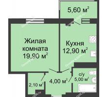 1 комнатная квартира 49,5 м², ЖК Нахичевань - планировка