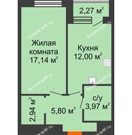 1 комнатная квартира 42,99 м² в ЖК Россия. Пять Столиц, дом 4 этап  - планировка