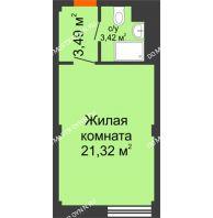 Апартаменты-студия 28,23 м², Апарт-Отель Гордеевка - планировка
